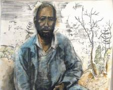 Man Confederate Bill, 2007, acrylic, charcoal, silkscreen on paper, 29 1/2 x 22""