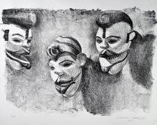 "Leamon Green, ""Mask Three"", 2011, lithograph, ed. 1/20, 12 x 17"""