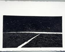 "Mirror or Mirage VIII, 2015, tar, sand, asphalt on paper, 23 x 30""/f.s. 28 1/2 x 36 1/2"""
