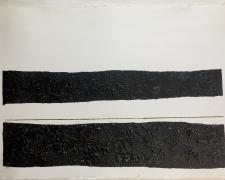 "Mirror or Mirage XIV, 2016, tar, sand, asphalt on paper, 23 x 30""/f.s. 28 1/2 x 36 1/2"""