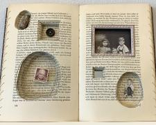 """Narcissus and Goldmund, 2018, 8 1/2 x 10 1/2 x 1 1/4"""", bound book, found objects"""