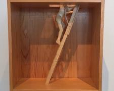 Man Escaping from Box, 2001, pine wood, 15 1/4 x 11 3/4 x 5 7/8""