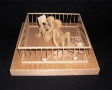 Man and Woman in Playpen, 2000, pine wood, 4 7/8 x 10 3/8 x 10 3/8""
