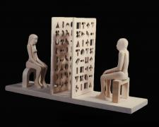 Man and Woman with Screens, 1997, pine wood, 9 3/4 x 17 1/2 x 5""