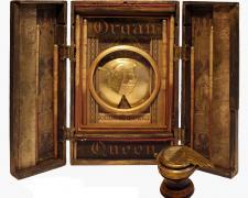 "Organ Queen: Absurda Enthroned, 2018, assemblage, 12 x 14 x 7"""