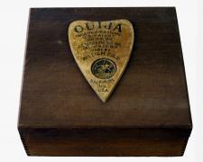 "Ouija, 2018, assemblage, 9 x 9 1/2 x 4"""