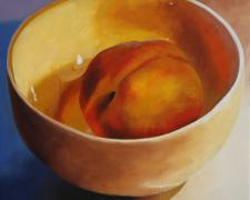 Peach in a Bowl, 2016, oil on board, 12 x 12""