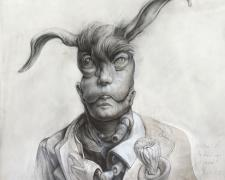Portrait of the Hero as a Rabbit, 2015, graphite, acrylic on panel, 12 x 12 x 3 3/8""
