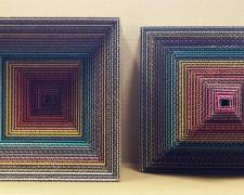 "Prismachrome #4, 2017, paper, cardboard, 10 x 10 x 11"" each"