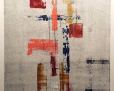 "Prayer Wall Study, 2003, enamel on glass monoprint, i.s. 18 1/2 x 13"" / f.s. 30 1/2 x 25 1/4"""