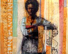 "Reachin Landins, 2004, mixed media, 30 x 22"""