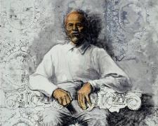 "Royal Elder Man, 2005, mixed media on paper, 42 x 30"""
