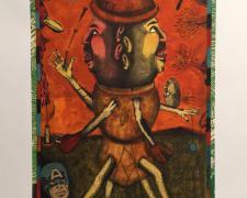 """Short Story, Collaborators, 2014, intaglio, hand-colored, collage, p.s. 30 x 22 1/4"""" / f.s. 33 x 25"""""""