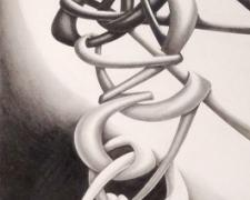 Snakes Out, Devils Out, 2013, graphite on paper, 45 x 24""