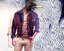 """Spyboy, 2016, photomontage and acrylic on wood panel, 28 x 21 x 2"""""""