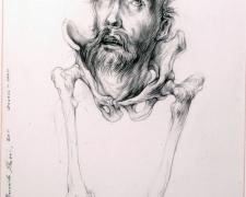 St. Francis via Bernardo Strozzi, 2011, graphite on paper, 8 7/8 x 5 3/4""