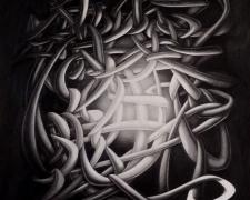 Suspicious Mind Creates the Dark, 2013, graphite on paper, 27 x 23 1/2""