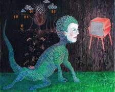 "Stephanie Mercado, ""Tele-Visions"", 2014, gouache on paper, 7 1/2 x 7 1/2"""