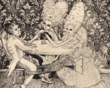 "The Tea Party, 2009, drypoint, ed. 26/30, f.s. 18 x 14""/ p.s. 17 7/8 x 13 7/8"""