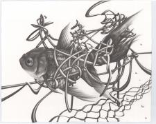 "The Biggest Fish Is Always The One That Got Away, 2015, graphite on paper, i.s. 13 1/2 x 17"" / f.s. 19 x 23"""