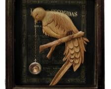 The Bird of Time, 2013, assemblage, 18 x 15 x 4""