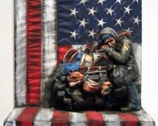 "The Patriot (View 1), 2016, ceramic, mixed media, 30 x 24 x 11 1/2"""