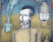 """These Girls are Better Off In My Head, 2007, graphite, colored pencil, collage, watercolor on paper, p.s. 40 x 18 1/2"""""""