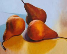 Three Bosc Pears, 2016, oil on board, 24 x 24""