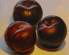 Three Plums, 2016, oil on board, 12 x 12""