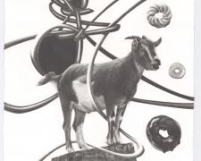 "Too Many Roads Make the Sheep Get Lost, 2015, graphite on paper, i.s. 21 x 11"" / f.s. 27 x 17"""