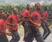 "Training, 2016, watercolor, 16 x 23"""