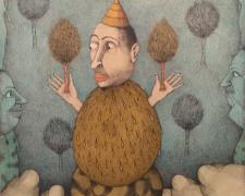 "Tree Eater, 2014, color pencil, graphite, p.s. 19 1/2 x 15 3/4"" / f.s. 25 x 20 1/2"""