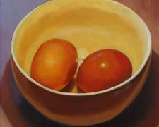 Two Brown Eggs in a Bowl, 2016, oil on board, 12 x 12""