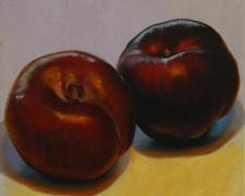 Two Plums, 2016, oil on board, 12 x 12""