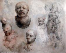 """Various Prophets (and grand cosmic pseudo revelations), 2012, graphite and acrylic on panel, 16 3/8 x 19 3/4 x 2"""""""