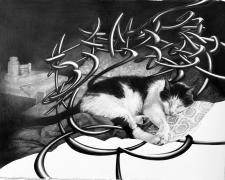 """急がばまわれ _When in a haste, the longest way round is the surest way, 2017, graphite on paper, 21 3/4 x 17"""""""
