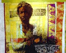 Woman at Capital, 2004, mixed media, 42 x 42""