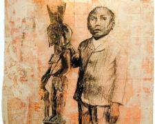 Young Man at Post, 2004, mixed media, 11 x 11""
