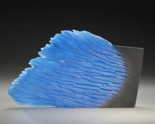 Blue Stone, 2008, cast and cut glass, fused steel, 13 x 20 1/2 x 1 1/2""