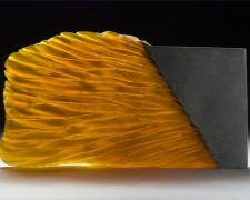 Amber Stone, 2007, cast and cut glass, fused steel, 21 x 11 1/2 x 1 1/2""