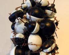 "B&W Bombcluster (Decorator Bomb), 2001, cast, black/white glass, copper, 16 x 12 x 12"""