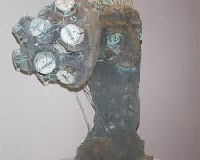 Head With Still Life, 2003, cast glass, 27 x 22 x 14""