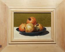 Apples of Carthage, 2014, acrylic on panel, i.s. 7 1/4 x 10 / f.s. 14 1/4 x 17 1/2""