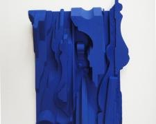 Assemblage in Blue #1, 2015, wood, paint, 5 1/2 x 4 1/4 x 3/4""