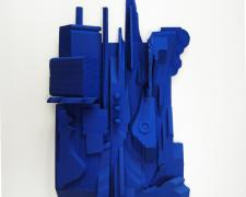 Assemblage in Blue #4, 2015 wood, paint 8 3/4 x 5 1/2 x 1 1/2""