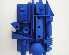 Assemblage in Blue #5, 2015 wood, paint 6 3/4 x 5 x 1 1/2""