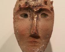 """Janus ( View 1) 2012 sandcast glass head: 8 1/2 x 9 x 5""""/base: 60 x 12 x 12"""""""