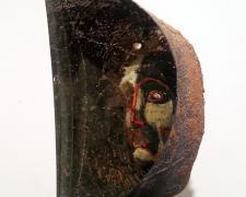 """Janus ( View 3 ) 2012 sandcast glass head: 8 1/2 x 9 x 5""""/base: 60 x 12 x 12"""""""