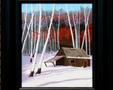"Awaiting Jeremiah's Return (Sundance Kid's Hideout), 2013, acrylic, canvas on plywood, f.s. 16 1/2 x 13 1/2"" / i.s. 12 x 9"""