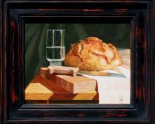 "Bread and Water, 2013, acrylic on stretched canvas, f.s. 12 x 14"" / i.s. 8 x 10"""